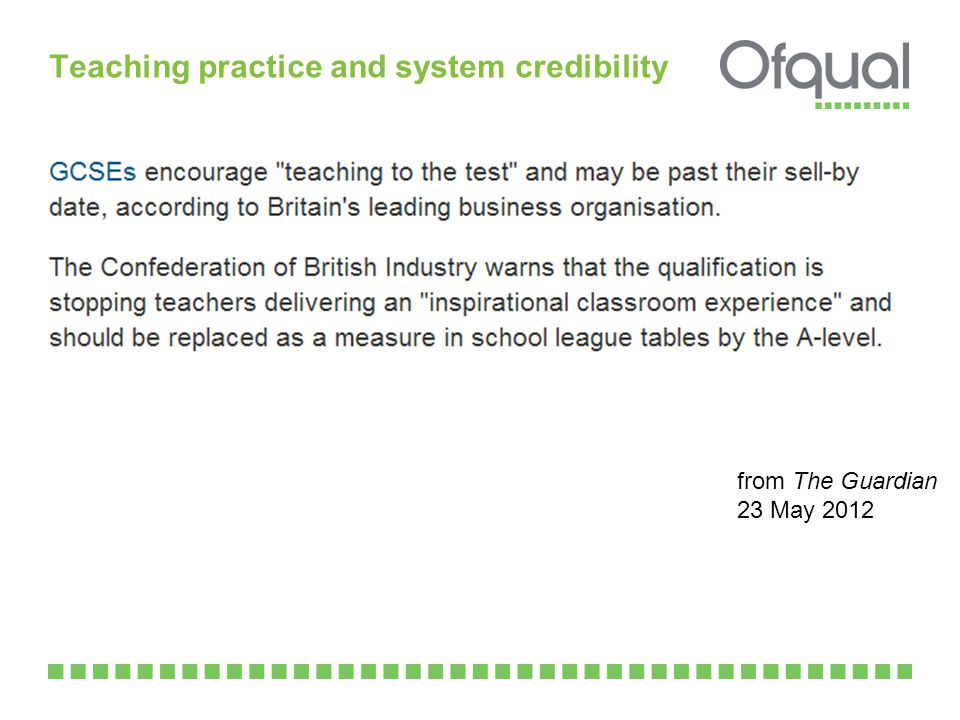 Teaching practice and system credibility Association of Teachers and Lecturers (2012).