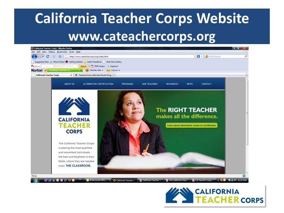 California Teacher Corps Website www.cateachercorps.org