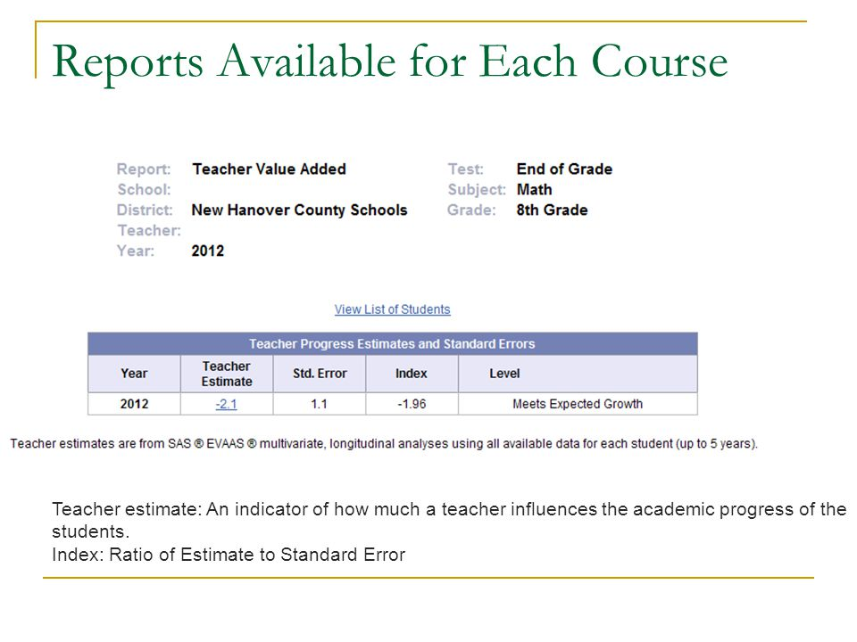 Reports Available for Each Course Teacher estimate: An indicator of how much a teacher influences the academic progress of the students. Index: Ratio