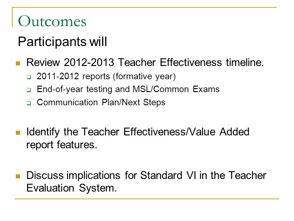Why is the EVAAS Teacher Effectiveness/Value Added Report Important.