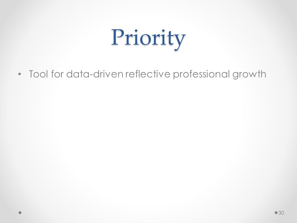 Priority Tool for data-driven reflective professional growth 30