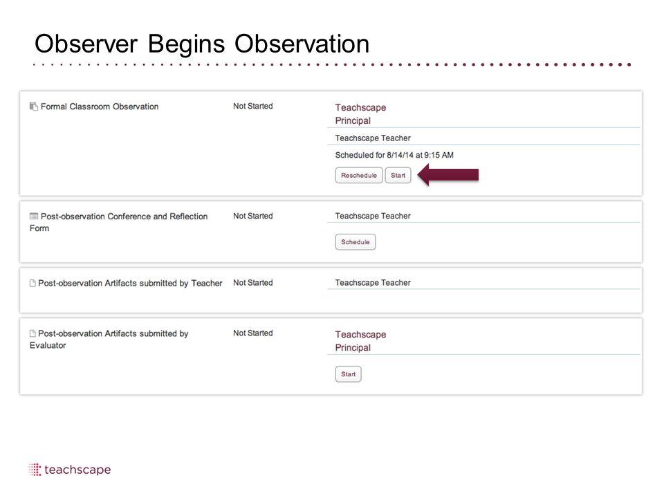 Observer Begins Observation