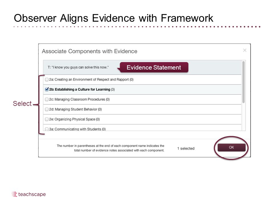 Observer Aligns Evidence with Framework Select Evidence Statement