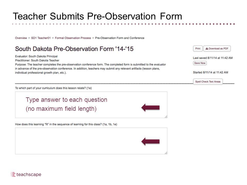Teacher Completes Post-Observation Form, Artifacts