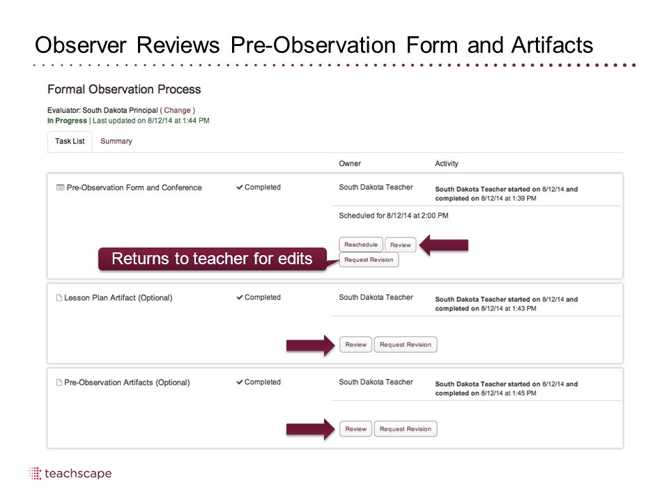 Evaluator Revises/Confirms Observation Score 30 To make changes to and/or confirm an observation, select Review
