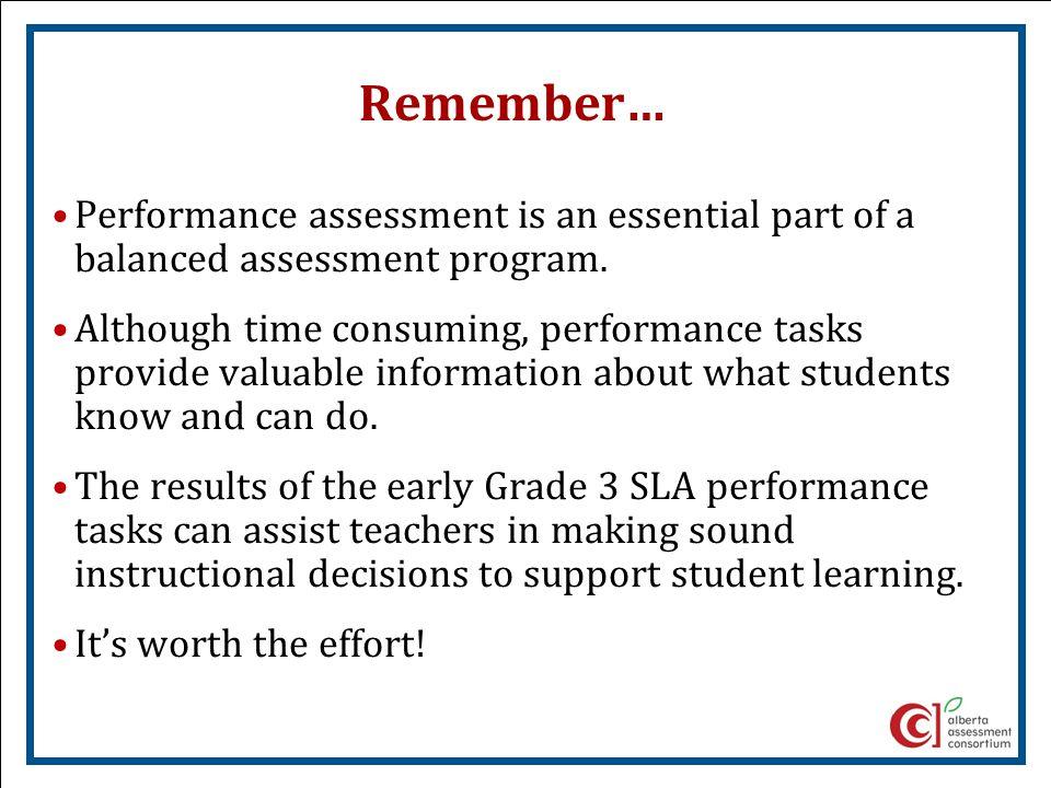 Remember… Performance assessment is an essential part of a balanced assessment program.