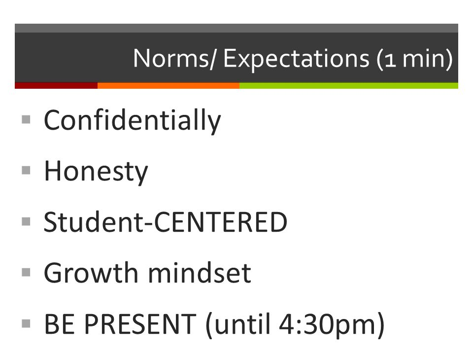 Norms/ Expectations (1 min)  Confidentially  Honesty  Student-CENTERED  Growth mindset  BE PRESENT (until 4:30pm)