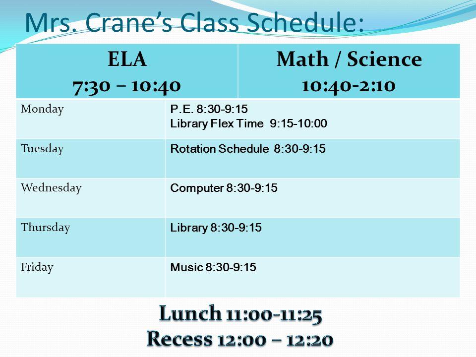 Mrs. Crane's Class Schedule: ELA 7:30 – 10:40 Math / Science 10:40-2:10 Monday P.E.