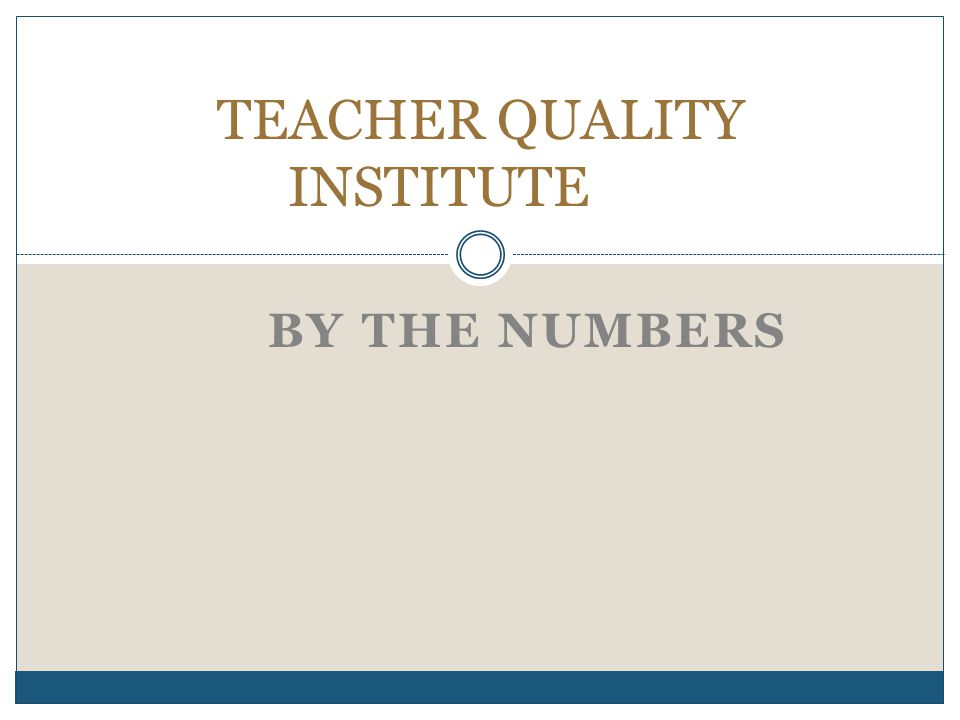 BY THE NUMBERS TEACHER QUALITY INSTITUTE