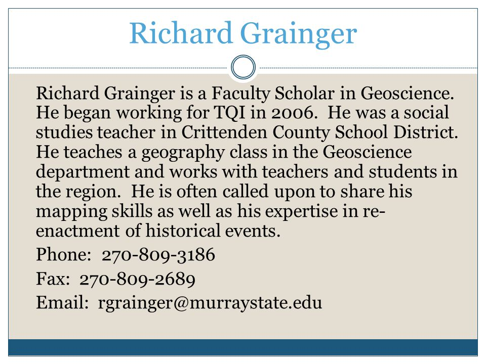 Richard Grainger Richard Grainger is a Faculty Scholar in Geoscience.