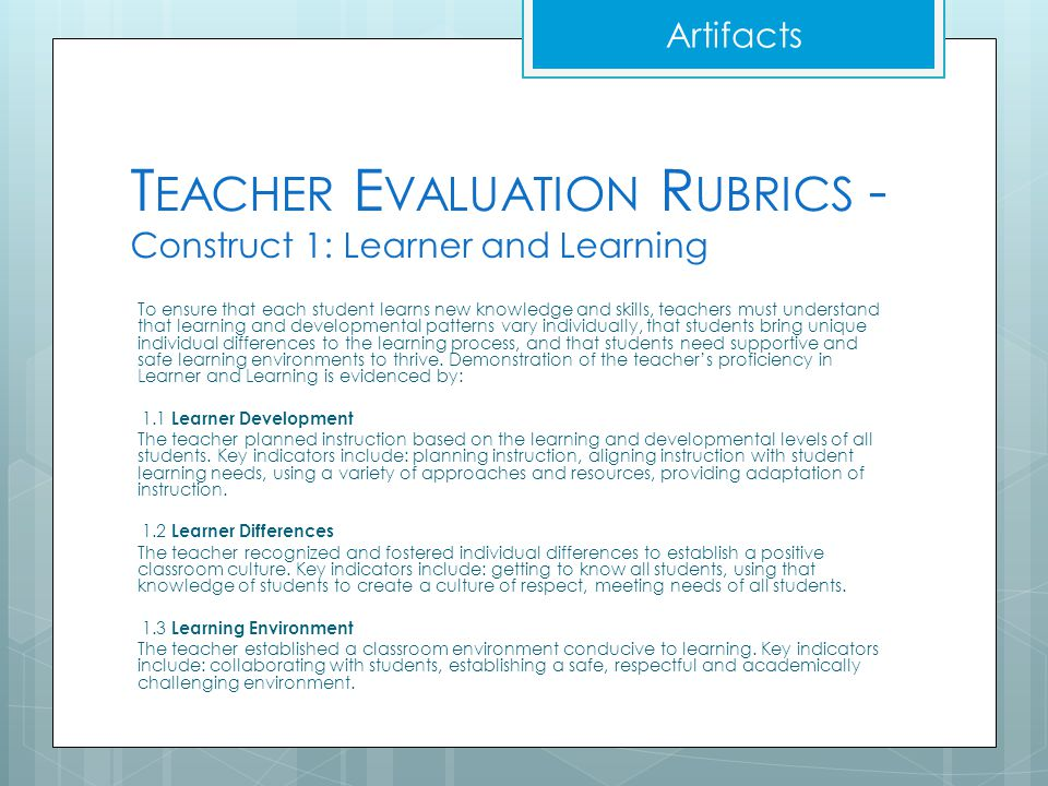 T EACHER E VALUATION R UBRICS - Construct 1: Learner and Learning To ensure that each student learns new knowledge and skills, teachers must understan