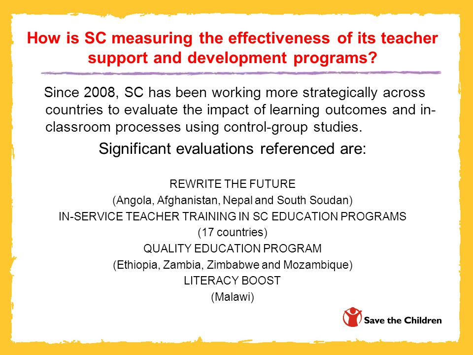 How is SC measuring the effectiveness of its teacher support and development programs.