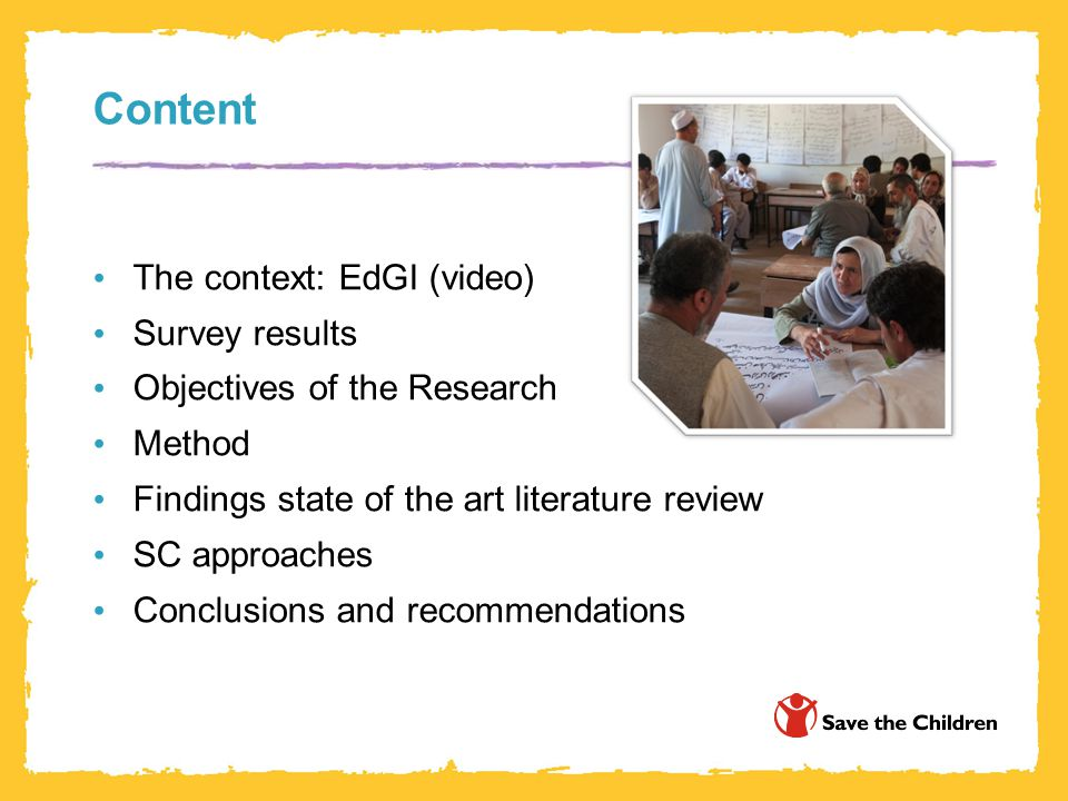 Content The context: EdGI (video) Survey results Objectives of the Research Method Findings state of the art literature review SC approaches Conclusions and recommendations