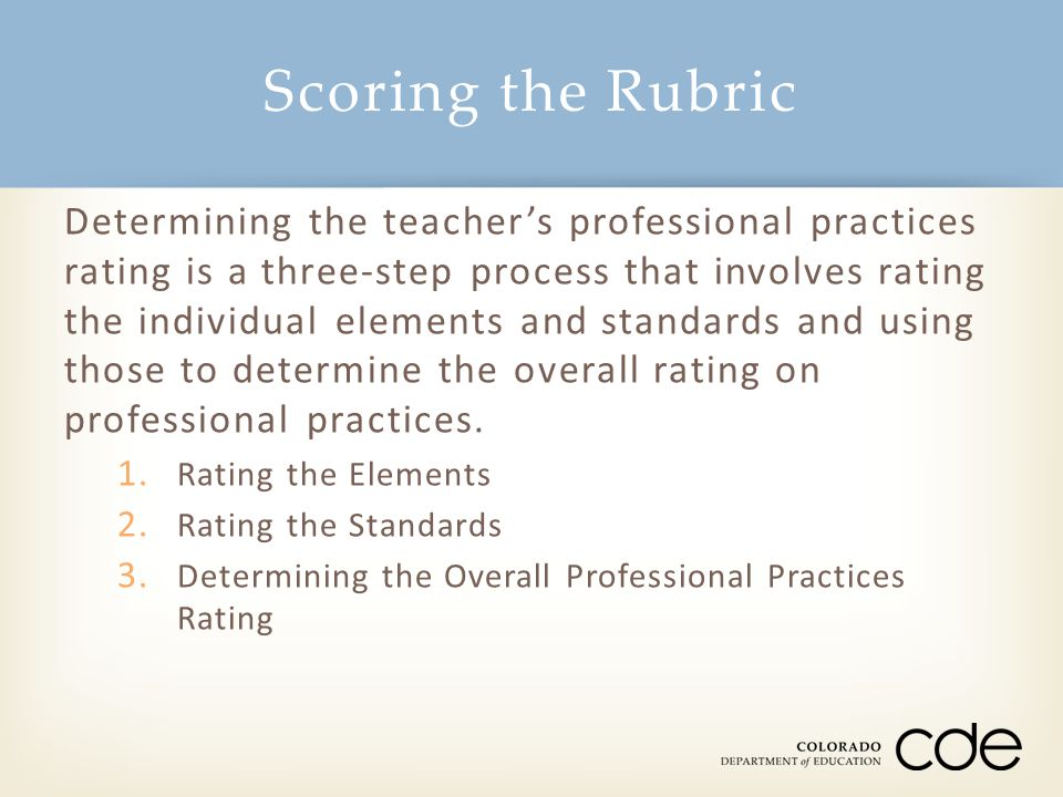 Scoring the Rubric Determining the teacher's professional practices rating is a three-step process that involves rating the individual elements and st