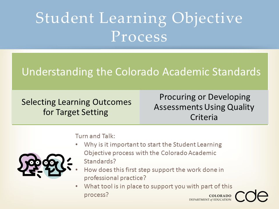 Student Learning Objective Process Turn and Talk: Why is it important to start the Student Learning Objective process with the Colorado Academic Stand