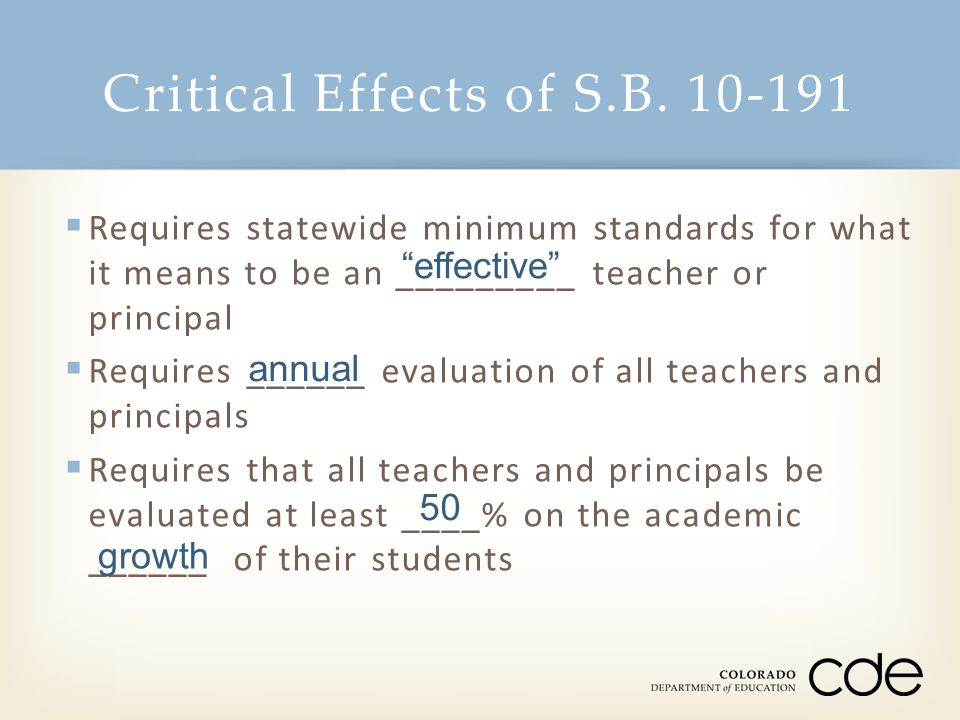Critical Effects of S.B. 10-191  Requires statewide minimum standards for what it means to be an _________ teacher or principal  Requires ______ eva