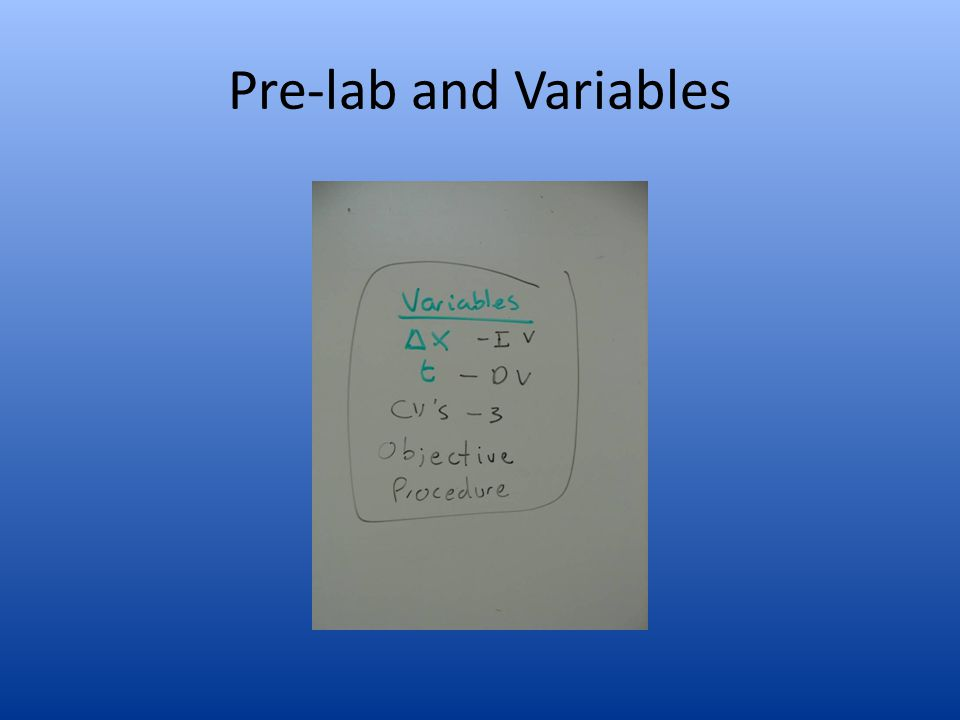 Pre-lab and Variables