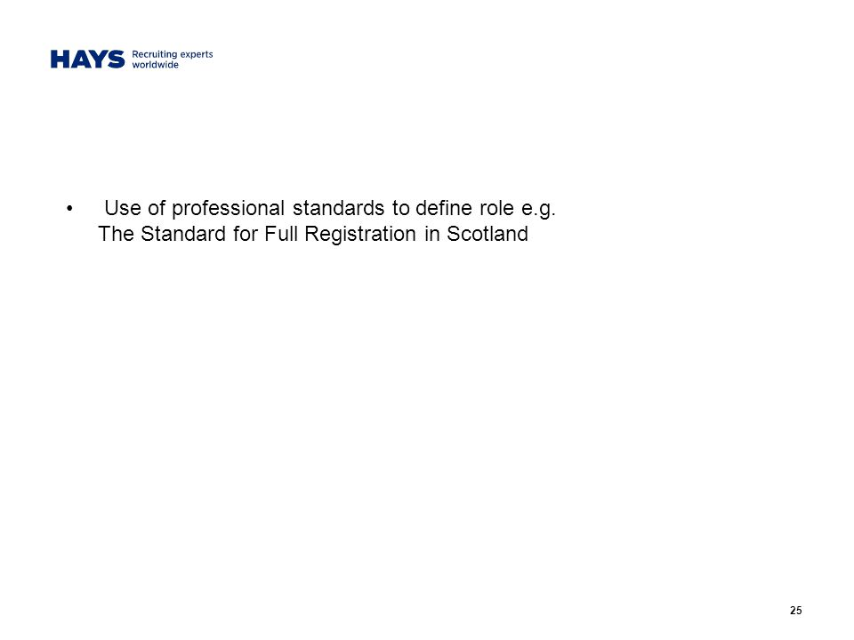 25 Use of professional standards to define role e.g. The Standard for Full Registration in Scotland