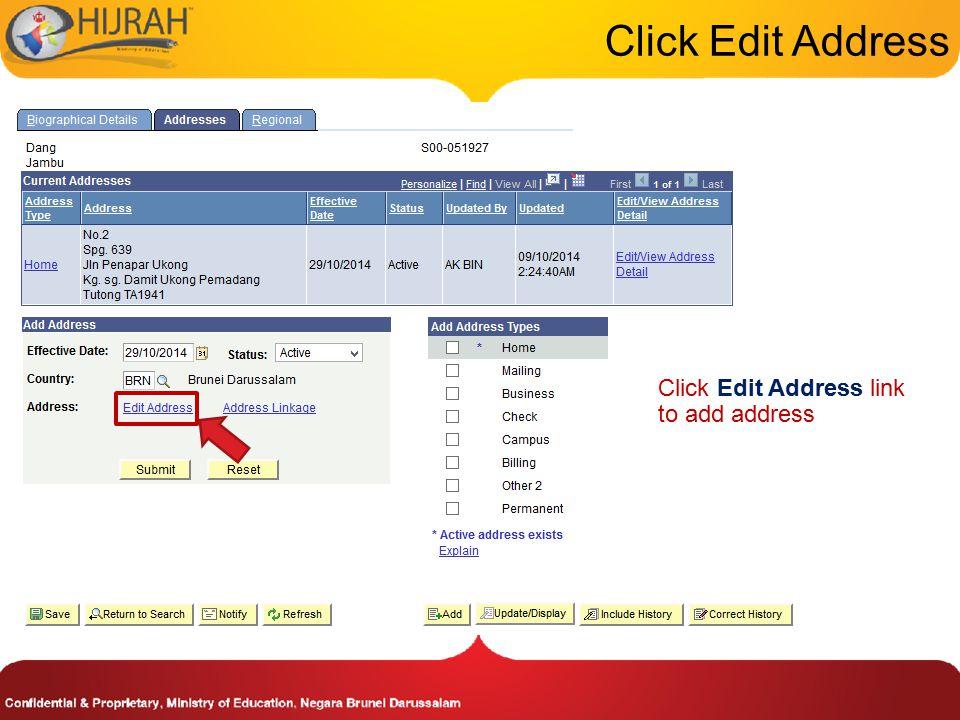 Click Edit Address link to add address Click Edit Address