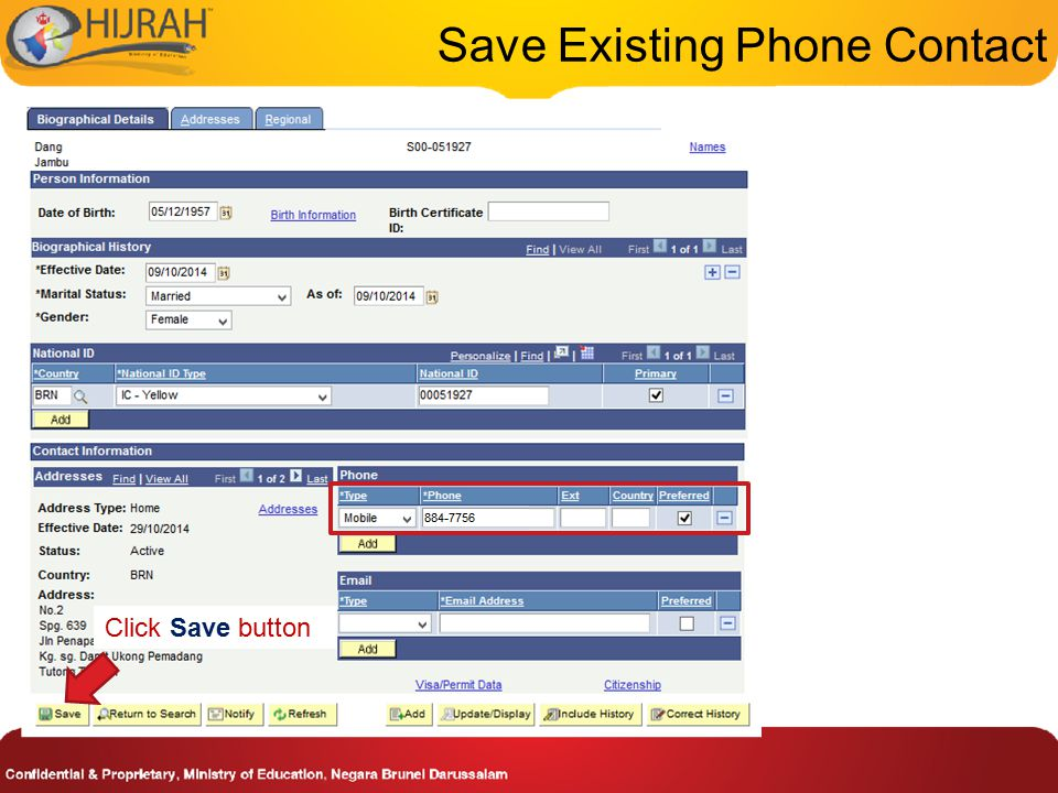 Save Existing Phone Contact Click Save button
