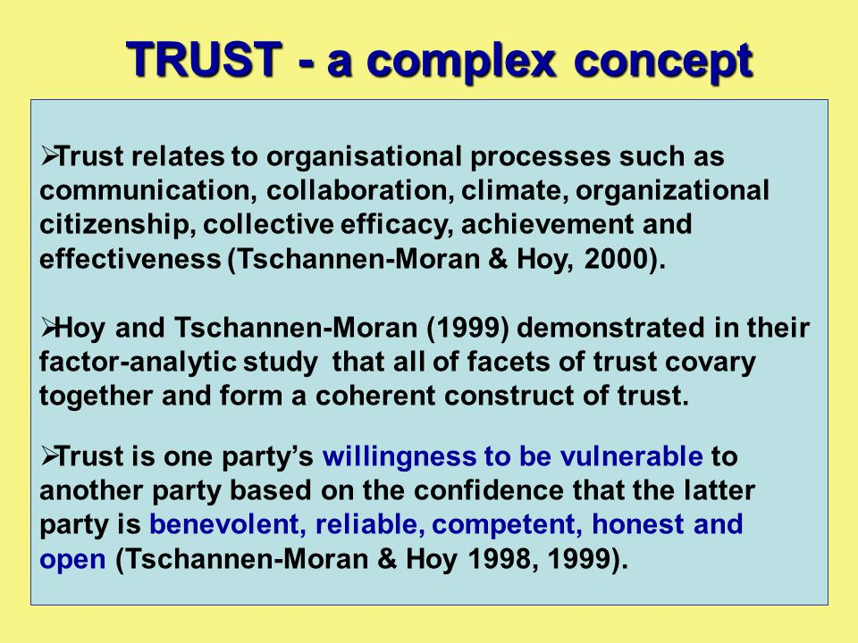  Trust relates to organisational processes such as communication, collaboration, climate, organizational citizenship, collective efficacy, achievemen