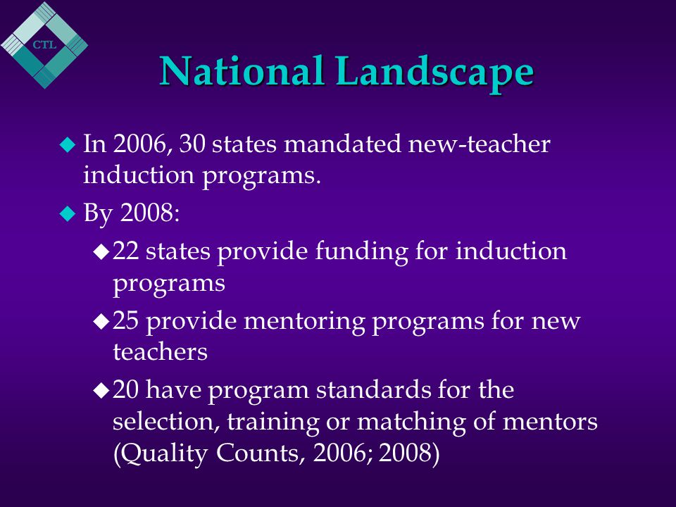 Local Mentoring Program u The Beginning Teacher Advisor (BTA) Program was first implemented in 2005.