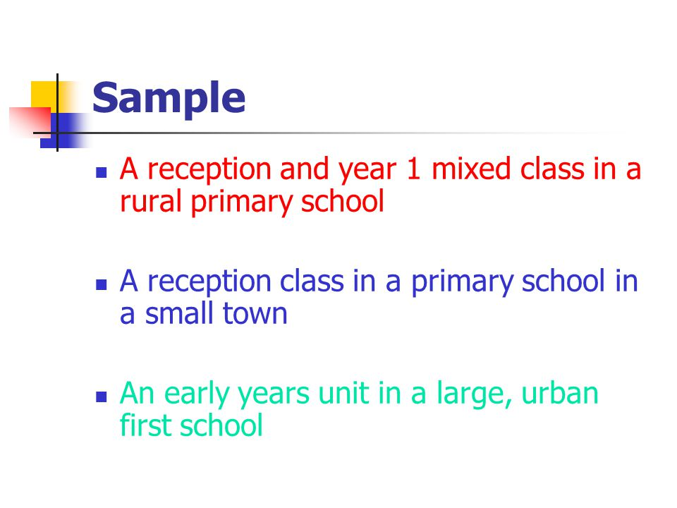 Sample A reception and year 1 mixed class in a rural primary school A reception class in a primary school in a small town An early years unit in a large, urban first school