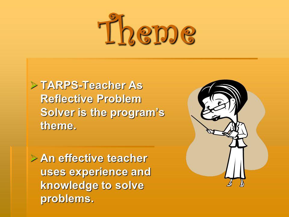 Theme  TARPS-Teacher As Reflective Problem Solver is the program's theme.