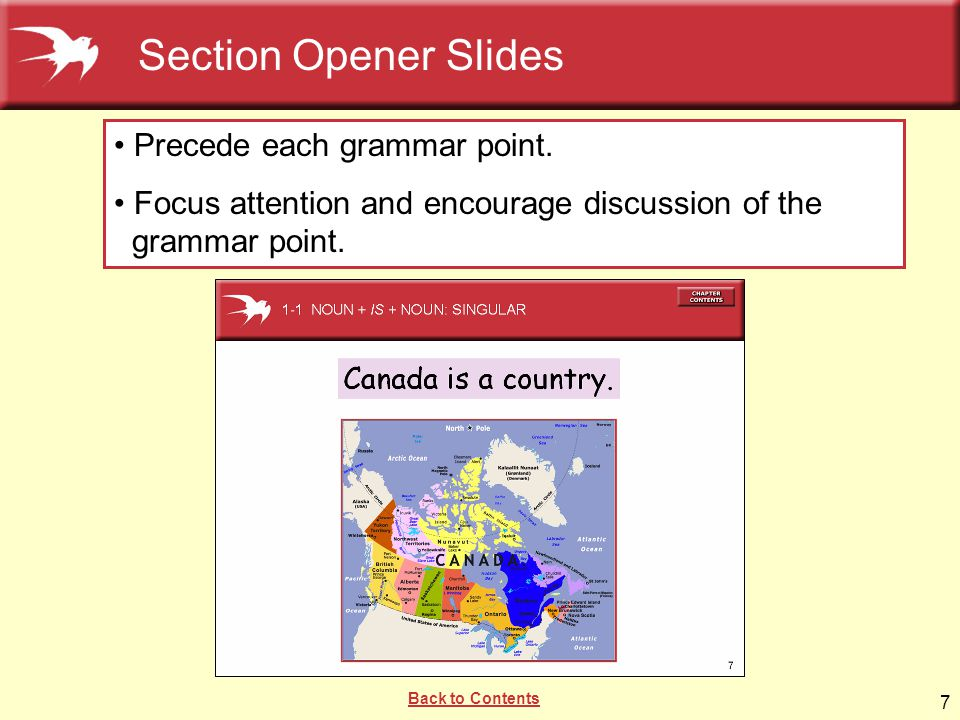 7 Precede each grammar point. Focus attention and encourage discussion of the grammar point. Section Opener Slides Back to Contents