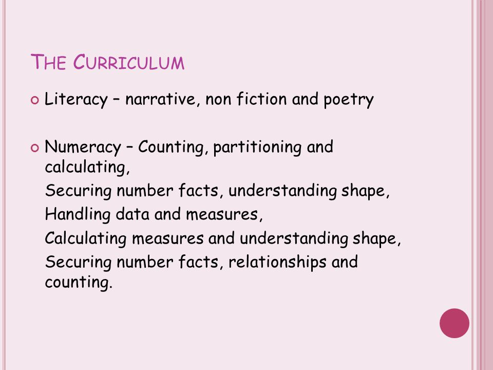 T HE C URRICULUM Literacy – narrative, non fiction and poetry Numeracy – Counting, partitioning and calculating, Securing number facts, understanding