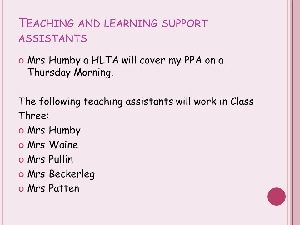 T EACHING AND LEARNING SUPPORT ASSISTANTS Mrs Humby a HLTA will cover my PPA on a Thursday Morning. The following teaching assistants will work in Cla