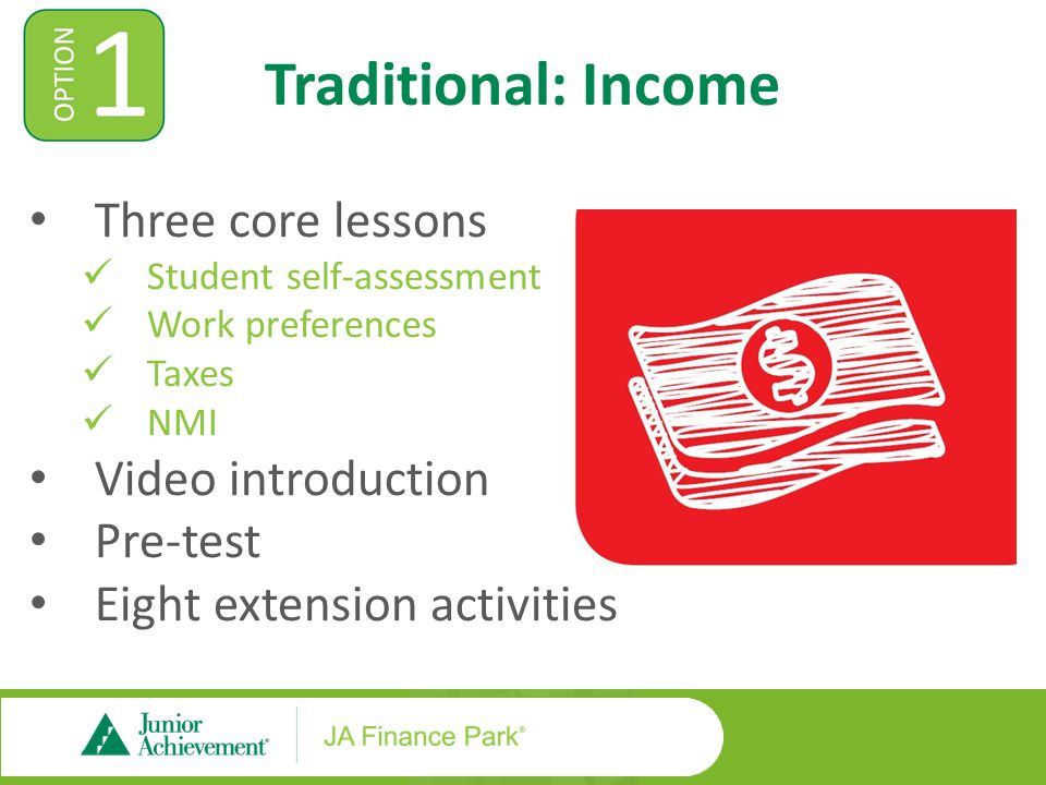 Traditional: Income Three core lessons Student self-assessment Work preferences Taxes NMI Video introduction Pre-test Eight extension activities