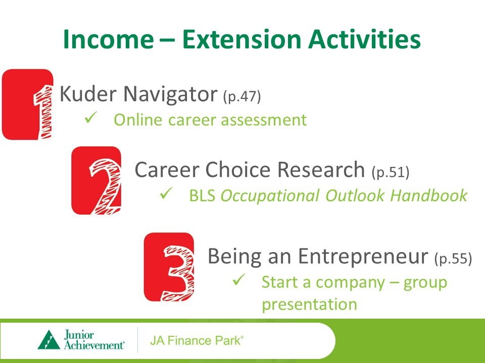 Income – Extension Activities Kuder Navigator (p.47) Online career assessment Career Choice Research (p.51) BLS Occupational Outlook Handbook Being an