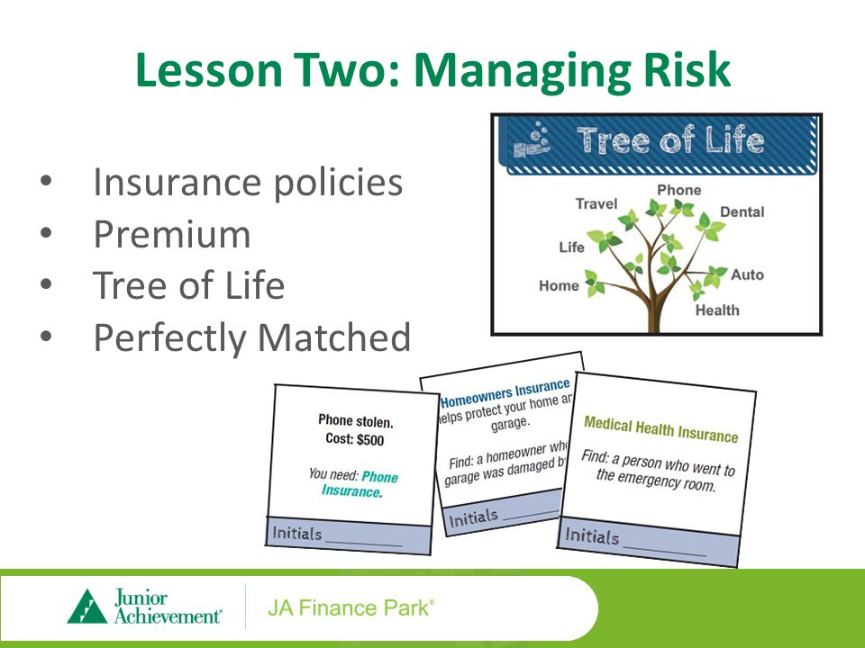 Insurance policies Premium Tree of Life Perfectly Matched Lesson Two: Managing Risk