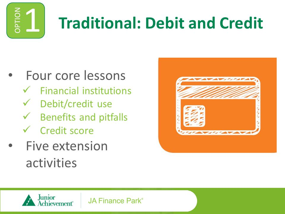 Traditional: Debit and Credit Four core lessons Financial institutions Debit/credit use Benefits and pitfalls Credit score Five extension activities