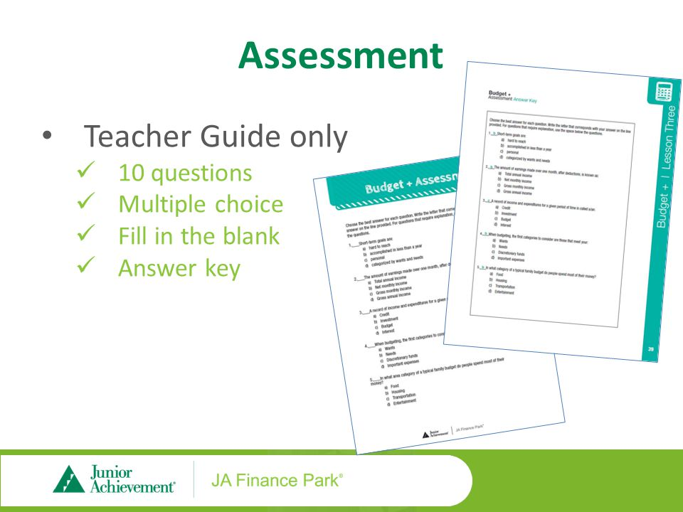 Assessment Teacher Guide only 10 questions Multiple choice Fill in the blank Answer key