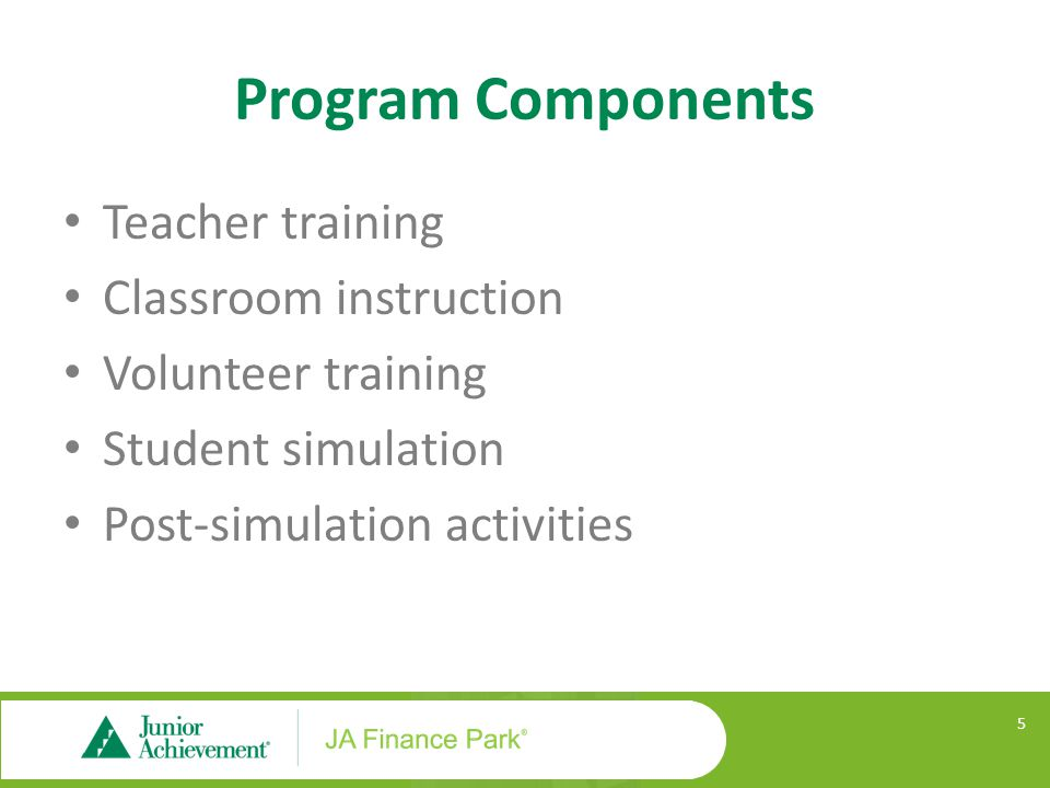 Program Components Teacher training Classroom instruction Volunteer training Student simulation Post-simulation activities 5