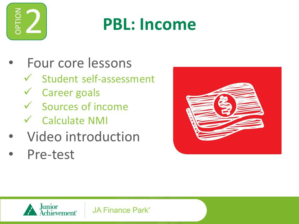 PBL: Income Four core lessons Student self-assessment Career goals Sources of income Calculate NMI Video introduction Pre-test