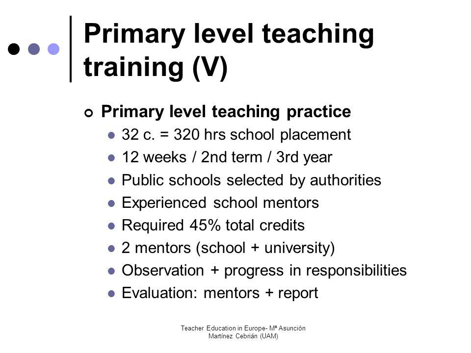 Teacher Education in Europe- Mª Asunción Martínez Cebrián (UAM) Primary level teaching training (V) Primary level teaching practice 32 c.