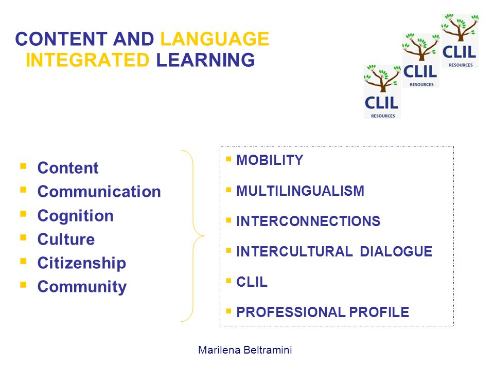 CONTENT AND LANGUAGE INTEGRATED LEARNING  Content  Communication  Cognition  Culture  Citizenship  Community  MOBILITY  MULTILINGUALISM  INTERCONNECTIONS  INTERCULTURAL DIALOGUE  CLIL  PROFESSIONAL PROFILE Marilena Beltramini