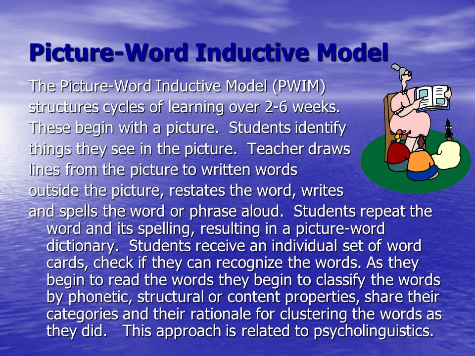 Picture-Word Inductive Model The Picture-Word Inductive Model (PWIM) structures cycles of learning over 2-6 weeks. These begin with a picture. Student
