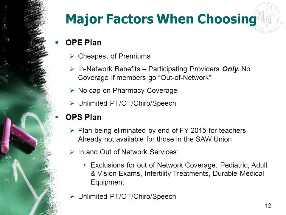 """12 Major Factors When Choosing  OPE Plan  Cheapest of Premiums  In-Network Benefits – Participating Providers Only. No Coverage if members go """"Out-"""