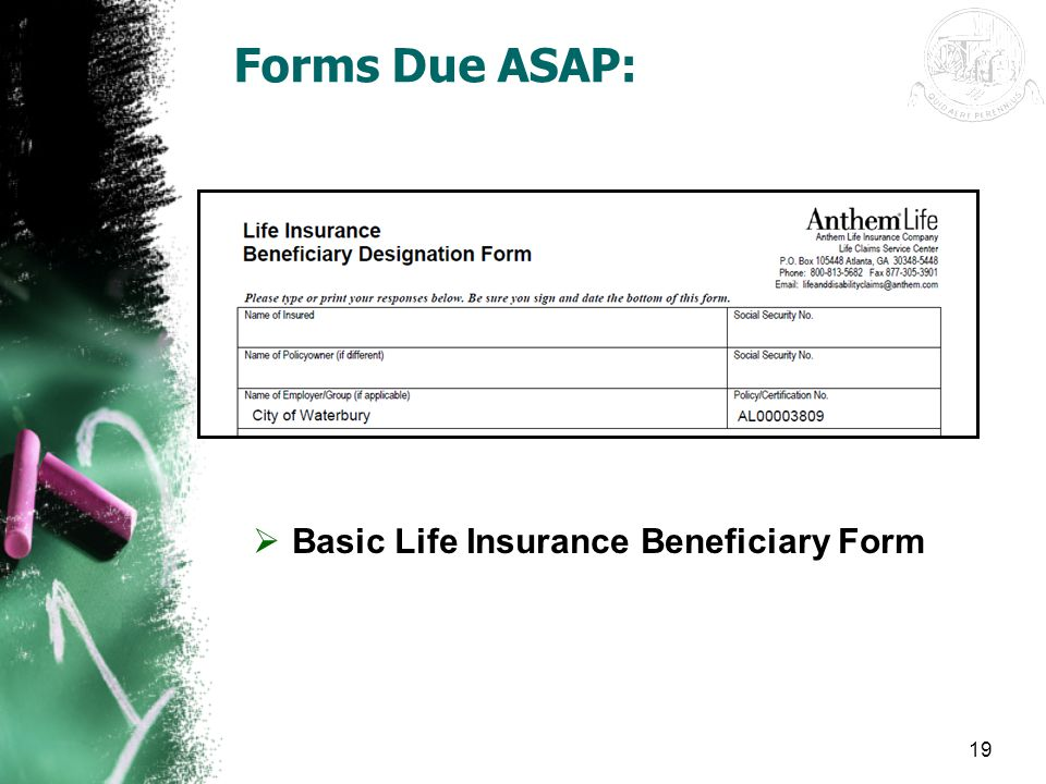 19 Forms Due ASAP:  Basic Life Insurance Beneficiary Form