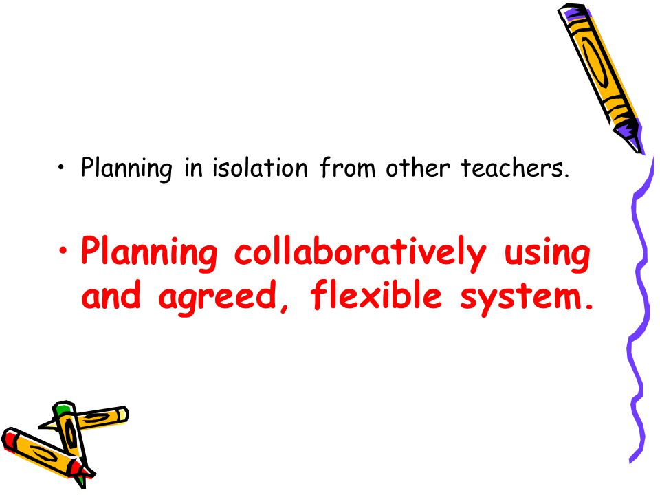 Planning disconnected from curriculum.