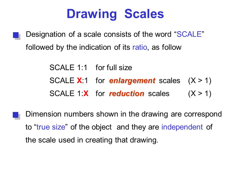 """Drawing Scales Designation of a scale consists of the word """"SCALE"""" followed by the indication of its ratio, as follow SCALE 1:1for full size enlargeme"""