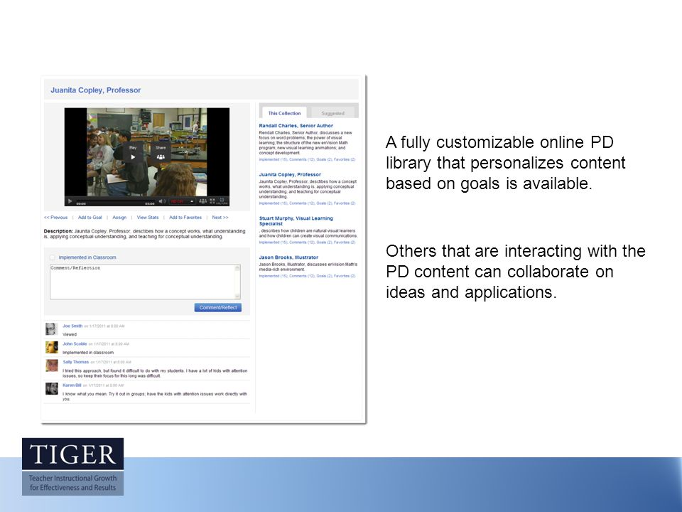 A fully customizable online PD library that personalizes content based on goals is available.
