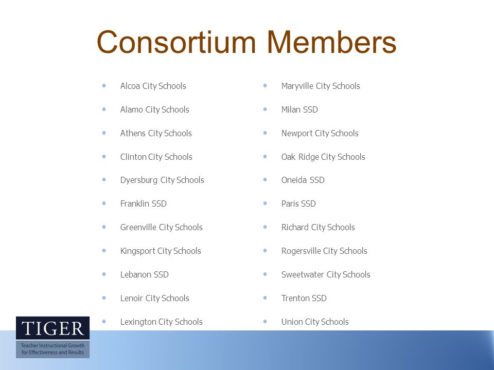 Consortium Members Alcoa City Schools Alamo City Schools Athens City Schools Clinton City Schools Dyersburg City Schools Franklin SSD Greenville City Schools Kingsport City Schools Lebanon SSD Lenoir City Schools Lexington City Schools Maryville City Schools Milan SSD Newport City Schools Oak Ridge City Schools Oneida SSD Paris SSD Richard City Schools Rogersville City Schools Sweetwater City Schools Trenton SSD Union City Schools