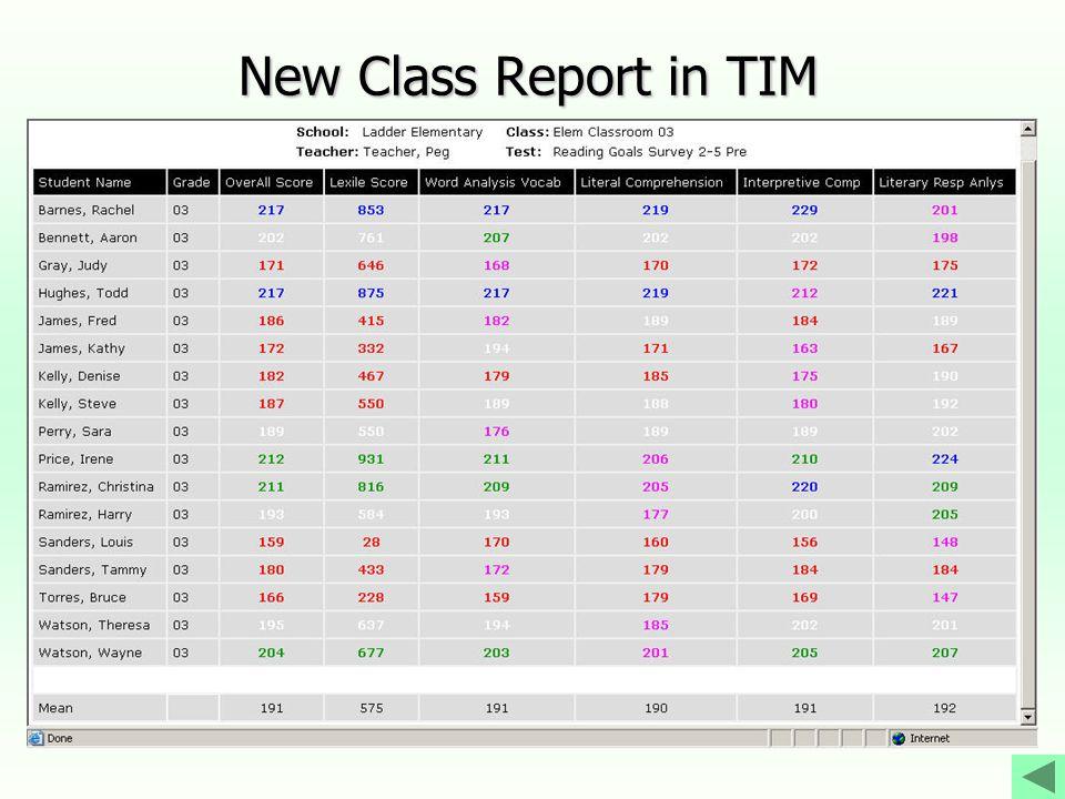 New Class Report in TIM
