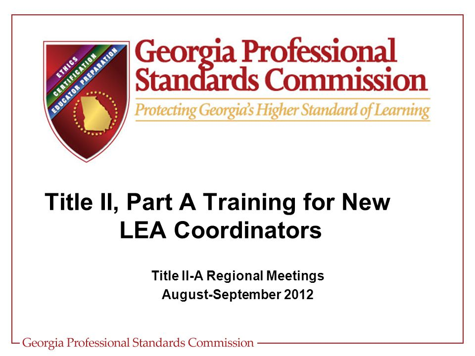 Purpose of Title II, Part A To help school districts ensure that all students have effective teachers who have the subject matter knowledge and the teaching skills to help all of their students achieve at high academic standards, regardless of individual learning styles or needs.