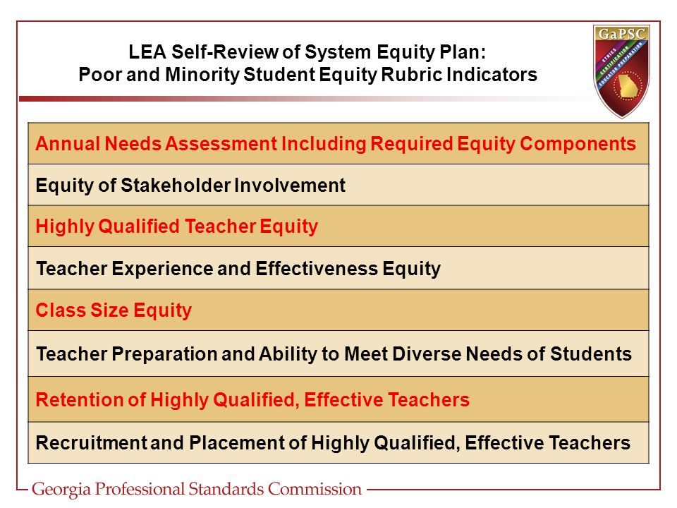 LEA Self-Review of System Equity Plan: Poor and Minority Student Equity Rubric Indicators Annual Needs Assessment Including Required Equity Components Equity of Stakeholder Involvement Highly Qualified Teacher Equity Teacher Experience and Effectiveness Equity Class Size Equity Teacher Preparation and Ability to Meet Diverse Needs of Students Retention of Highly Qualified, Effective Teachers Recruitment and Placement of Highly Qualified, Effective Teachers